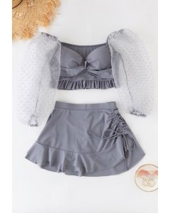 Organza Bubble Sleeves Ruffle Drawstring Bikini Set