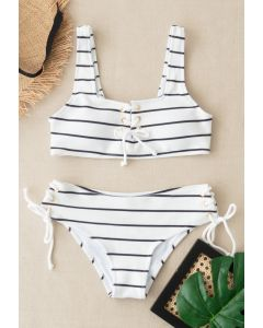 Lace-Up Striped Bikini Set in Black