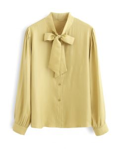 Shimmer Bowknot Button Down Shirt in Mustard
