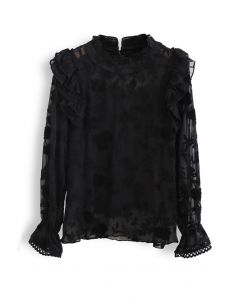 Sheer Organza Embroidered Floral Ruffle Top in Black