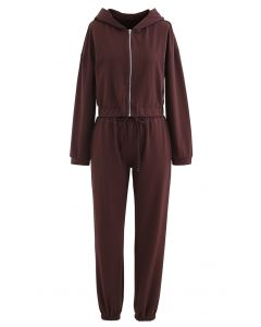 Hooded Zipper Sweatshirt and Drawstring Joggers Set in Brown