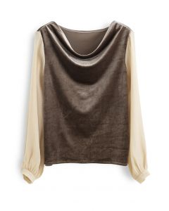 Velvet Drape Neck Versatile Shirt in Tan