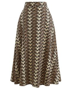 Brown Petal A-Line Midi Skirt