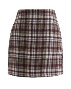 Plaid Wool-Blend Bud Skirt in Brown