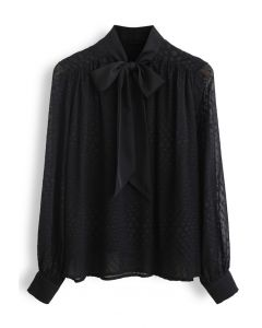 Spots Jacquard Chiffon Shirt in Black
