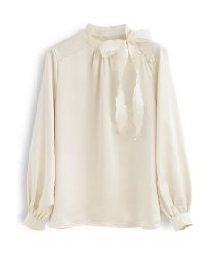 Satin Bowknot Neck Sleeves Top in Light Yellow