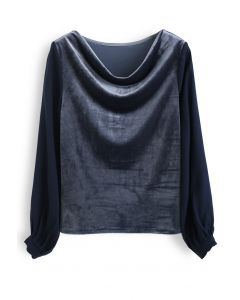 Velvet Drape Neck Versatile Shirt in Dusty Blue