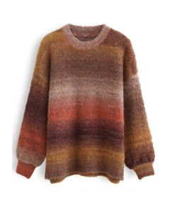 Ombre Striped Oversized Knit Sweater in Caramel