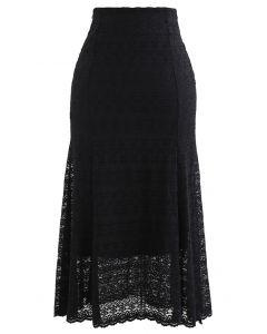 Floret Zigzag Lace Frill Hem Skirt in Black