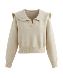 Peter Pan V-Neck Knit Crop Sweater in Light Tan