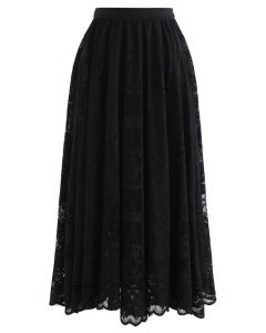 Divine Floral Lace Midi Skirt in Black