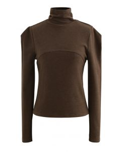 Seamed Front Turtleneck Top in Brown