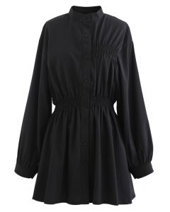Asymmetric Shirred Button Down Shirt Dress in Black