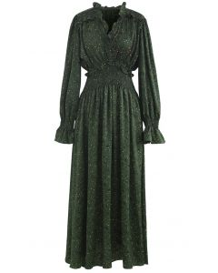 Green Ruffle V-Neck Shirred Maxi Dress