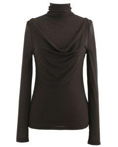 Turtleneck Knit Top and Vest Set in Brown