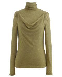 Turtleneck Knit Top and Vest Set in Olive