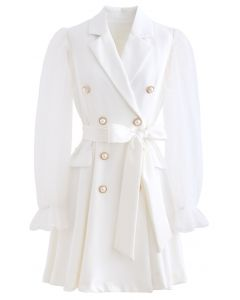 Polka Dot Mesh Sleeves Blazer Dress in White