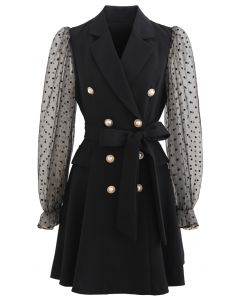 Polka Dot Mesh Sleeves Blazer Dress in Black