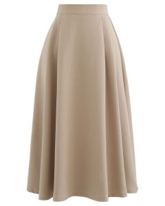 Pleated Flare Midi Skirt in Tan