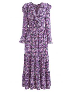 Bright Bloom Wrap Ruffle Maxi Dress in Purple