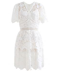 Full Flowers Crochet V-Neck Layered Dress in White