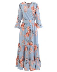 Pink Peony Wrap Ruffle Maxi Dress in Blue