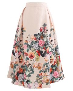 Wild Rose Print Embossed Midi Skirt