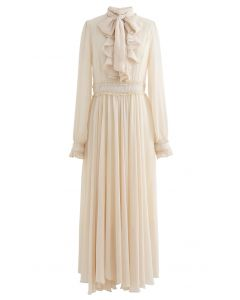 Scarf Neck Ruffle Asymmetric Maxi Dress in Cream