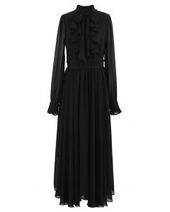 Scarf Neck Ruffle Asymmetric Maxi Dress in Black