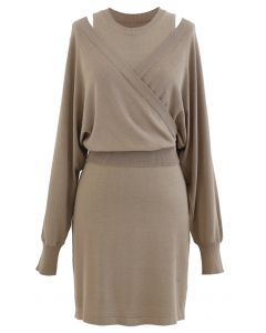 Crop Wrapped Top and Sleeveless Knit Twinset Dress in Camel