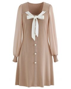 Bowknot Button Trim Sheer Sleeves Knit Dress in Dusty Pink