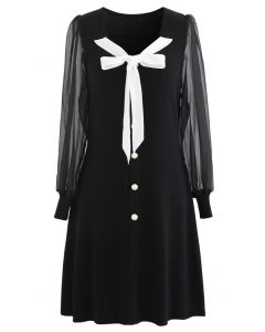 Bowknot Button Trim Sheer Sleeves Knit Dress in Black