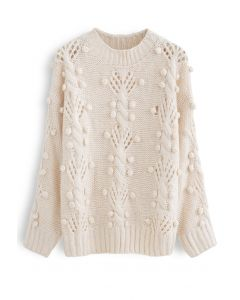 Cable Pom-Pom Eyelet Knit Sweater in Cream