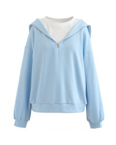 Zipper Front Spliced Sweatshirt in Baby Blue