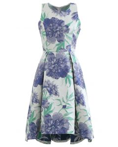 Blue Dahlia Jacquard Waterfall Sleeveless Dress