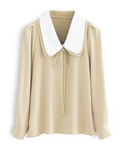 Double Collars Bowknot Shirt in Yellow