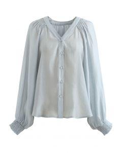 Hi-Lo Hem Buttoned Semi-Sheer Top in Dusty Blue