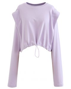 Adjustable Oversized Crop Sweatshirt in Lavender