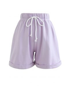 Folded Hem Drawstring Pockets Shorts in Lavender