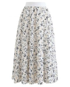 3D Applique Floral Print Midi Skirt in White