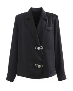 Crystal Brooch Padded Shoulder Satin Shirt in Black