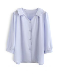 Three-Quarter Sleeve Buttoned Shirt in Blue