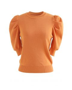 Bubble Short-Sleeve Knit Top in Orange