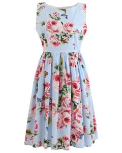 Blooming Pink Rose Printed Pleated Cotton Dress in Blue
