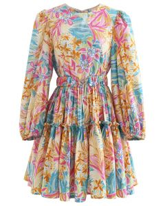 Bright Floral Printed Belted Dress