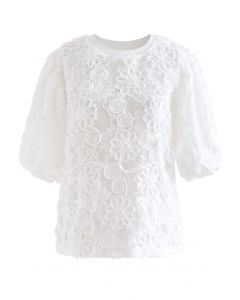 3D Sunflower Bloom Lace Top in White