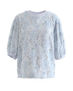 3D Sunflower Bloom Lace Top in Dusty Blue