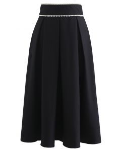 Pearly Waist Pleated Midi Skirt in Black