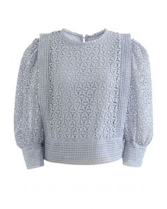 Full Floral Cutwork Crochet Top in Dusty Blue