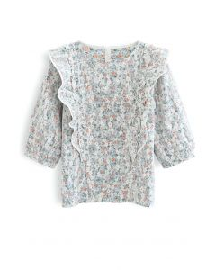 Embroidered Floret Mesh Top in Green